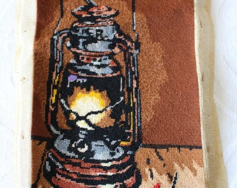Vintage 1970's Creative Dimensions 1977 Oil or Kerosene Lamp Needlepoint Completed Embroidery Canvas 2002