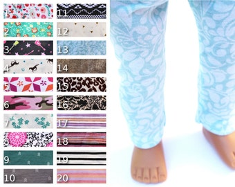 Fits like American Girl Doll Clothes - Leggings, You Choose Print and Length