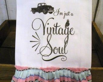 Vintage Soul old truck  Prairie Farmhouse cotton Kitchen dish towel ECS RDT