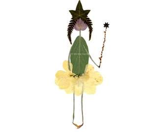 Botanical notecard - Pressed flower art - Print of a princess with a tiara and wand - Petal People - Blank greeting card for a birthday