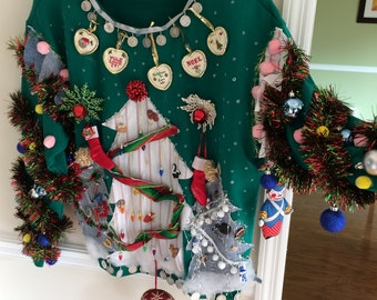 UGLY SWEATER Christmas TACKY Men or Ladies Tools Sports Wildlife