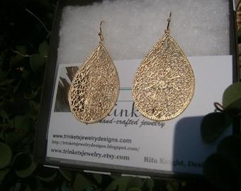 18K Gold-Plated Filigree Teardrop Earrings