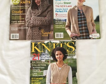 3 Issues Of Interweave Knits Magazines Knitting Patterns Gifts Adults Baby kids Knitting