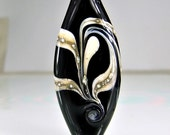 Black Lampwork Focal Bead Black Ivory Silver Lampwork  Bead