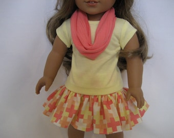 18 Inch  Doll Clothes - Coral and Yellow Skirt Outfit made to fit dolls such as American Girl doll clothes
