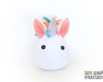 Kawaii Unicorn Plush, Stuffed Small Pastel Mythical Pony Handmade Plushie, READY TO SHIP