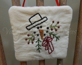 Hand Stitched Snowman Ornament, Christmas Tree