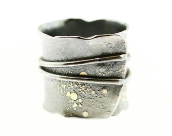 Lichen Fused Double Wire Overlap Band Sterling Silver 18 Karat Gold