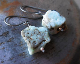 Oxidized sterling silver and larimar earrings. Larimar and silver. Atlantis dolphin stone. Handmade rustic raw modern metal art primitive.