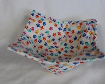 Reversible Quilted Microwave Bowl Cozy Pot Holder Bowl Holder Paw Prints