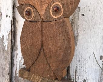Vintage 1970's Era Large Wooden Owl Wall Hanging