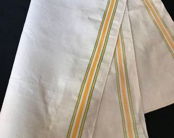 Vintage Yellow, Green and White Stripe Kitchen Dish Towel