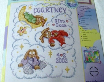 Janlynn Cross Stitch Kit Bunnies Birth Announcement