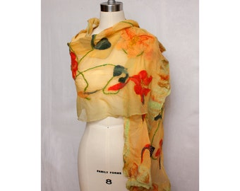 Nuno Felted Shawl Nasturtiums Wearable Art