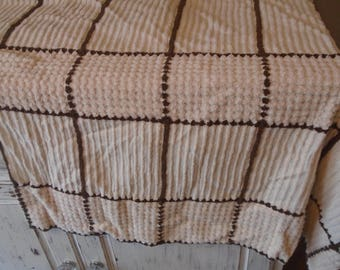 Vintage beige and brown cotton chenille cutter fabric pieces from old bedspread, plus chenille in lined and waffle pattern