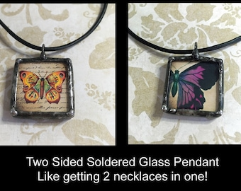 Soldered Art Charm, Butterfly Image, Boho Style Glass Pendant, Two Sided, 1 inch square collage art