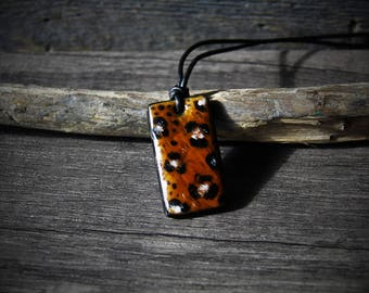 Simple Glass Leopard print necklace  - Unique Fused glass pendant