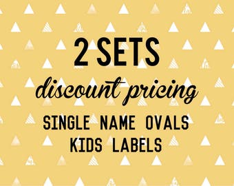 Single Name OVAL Kids Labels - 2 sets of 30 qty - Waterproof for kids