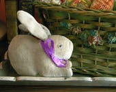 Funny Vintage Stuffed Easter Bunny Rabbit with Glass Eyes and Squeaker Blue Gray Velveteen Japan