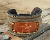 Leather Cuff Bracelet - Copper Texas Star -  Cowgirl Jewelry - Turquoise Leather - Magnetic Clasp - Rustic Cuff by Heart of a Cowgirl