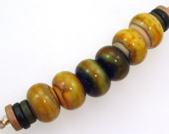 Handmade Lampwork Glass Beads - 3 pairs. Silvered caramel on apricot, black & ivory. Organic colors, earring pairs, jewelry components.