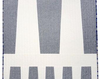 Moderne quilt voor baby, huisdieren of ronden - V1 in Denim linnen + sneeuw