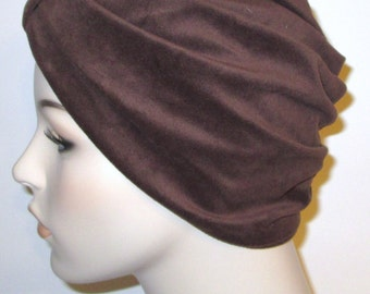 Brown Velour Turban, Chemo Hat, Snood, Womens Hat, Cancer Hat Alopecia