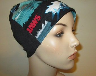 Jaws 2 Shark Print Lightweight Hat -Chemo, Cancer, Alopecia, Sleep Cap, Summer Chemo Hat