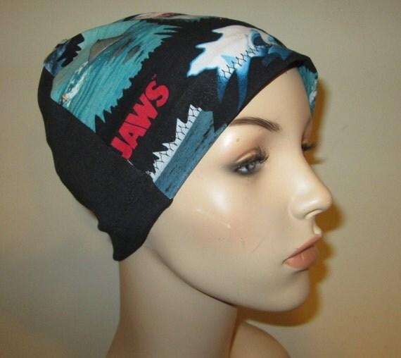 Jaws 2 Shark Print Lightweight Hat -Chemo, Cancer, Alopecia, Sleep Cap, Summer Chemo Hat