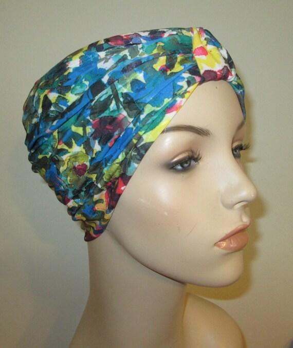 Turban Blue Floral Print Stretch Lycra Knit Chemo Hat, Snood,  Alopecia Yoga Cancer Cap