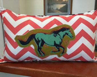 """Modern Horse cowgirl pillow about 17""""X 9.5"""" natural with coral chevron and black white ikat back"""