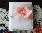 Needle Case,Victorian, Handmade, Ribbon Rose, Pink Rose has two Pockets inside, Felt Pages,Velcro closure