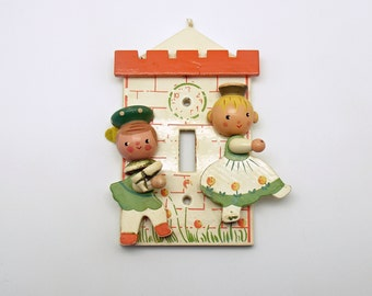 Vintage Wood Switchplate Nursery Decoration  Cinderella