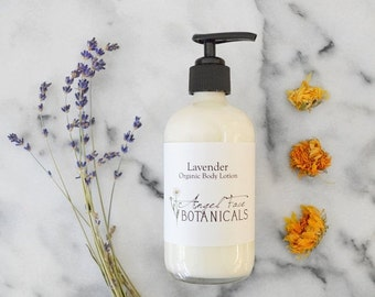 SALE - Lavender Organic Body Lotion with Calendula and Hemp Seed Oil Preservative Free Moisturizer, All Natural Essential Oils, Hand Lotion