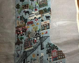 Original design Christmas needlepoint stocking NYC/Broooklyn