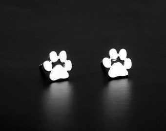 Cute Animal Paw Palm Silvery Stud Earring Post Finding (ET068B)