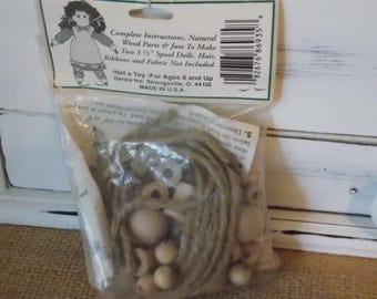 Darice Spoolkins Spool Doll Kit Craft Wood 2 Doll Supplies Vintage Craft Make