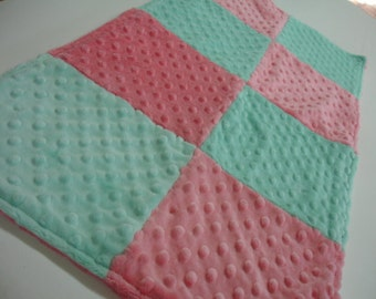 Mint Coral Double Sided Minky Burp Cloth 14 x 28 READY TO SHIP