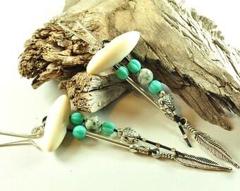 Long feather earrings | button earrings | turtle earrings | southwest earrings