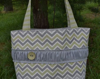 """The """"OUT & ABOUT"""" Tote Bag Shabby Chic design in natural ivory / grey / green  prints extra large size"""