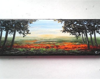 """Oil Painting Sunset Forest Orange Flower Field 3"""" x 9"""" READY to SHIP"""
