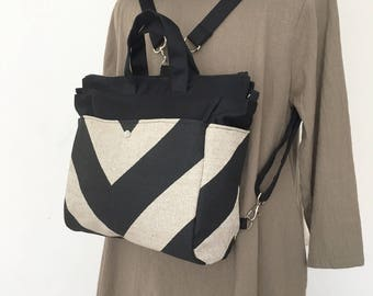 4 WAYS bag / Tote / Cross Body / Shoulder / Backpack - Chevron Black