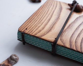 Blank journal Notebook Diary Travel Journal  Wood book Small Distressed Woodworm