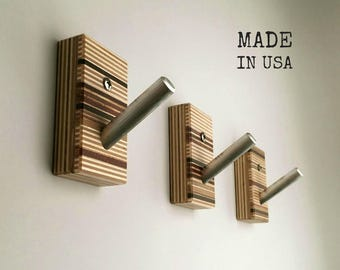 Wall Hooks, Wood, Metal, Modern Home, Bath, Home Organization, Housewarming, Recycled Wood, Set of Three