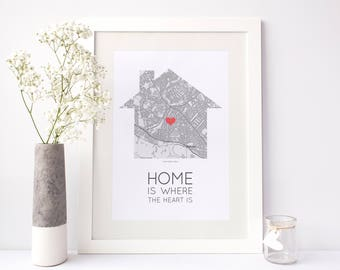 Home Is Where The Heart Is - personalised map print house with mapping and heart