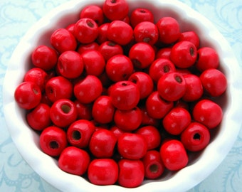 Red Wooden Beads 8mm - Over 100 - Glossy Cherry Red Wood Beads Round (WBD0128)
