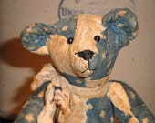 Vintage Blue Calico Quilt Bear Jointed SMALL 7 Inches Tall