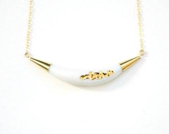 22k Gold Carved Arc Necklace - White - Porcelain Jewelry - Nautical, minimalist jewelry, nickel free