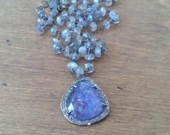 Diamond Tanzanite Rhodium Pendant Blue Flash Labradorite Stone Necklace