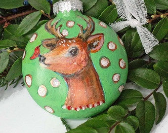 Handpainted Holiday Deer Head Glass Christmas Ornament Fine Art
